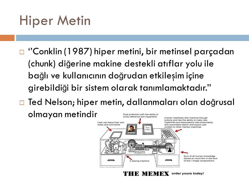 Hiper Metin  ''Conklin (1987) hiper metini, bir metinsel parçadan (chunk) di ğ erine makine destekli atıflar yolu ile ba ğ lı ve kullanıcının do ğ ru