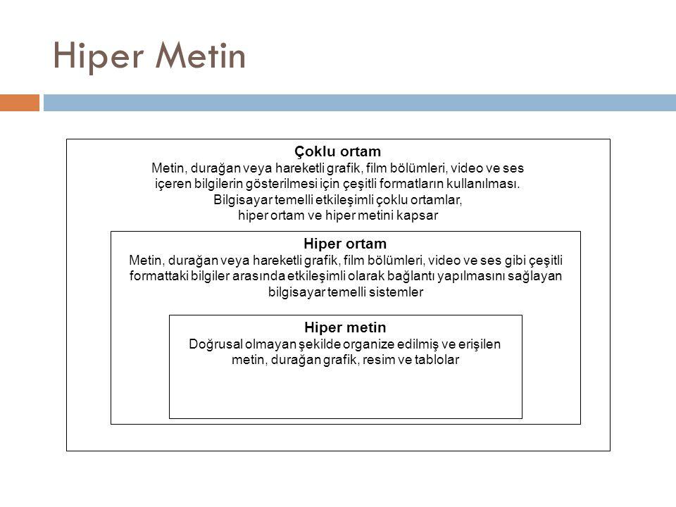 Hiper Metin Çoklu ortam Metin, durağan veya hareketli grafik, film bölümleri, video ve ses içeren bilgilerin gösterilmesi için çeşitli formatların kul