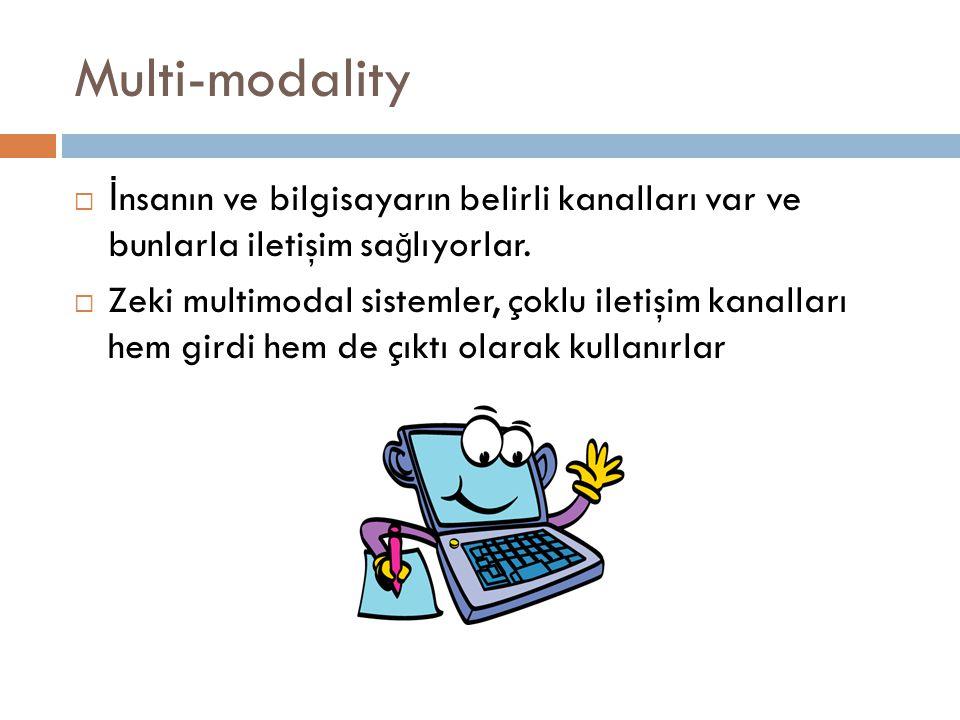 Multi-modality  İ nsanın ve bilgisayarın belirli kanalları var ve bunlarla iletişim sa ğ lıyorlar.  Zeki multimodal sistemler, çoklu iletişim kanall
