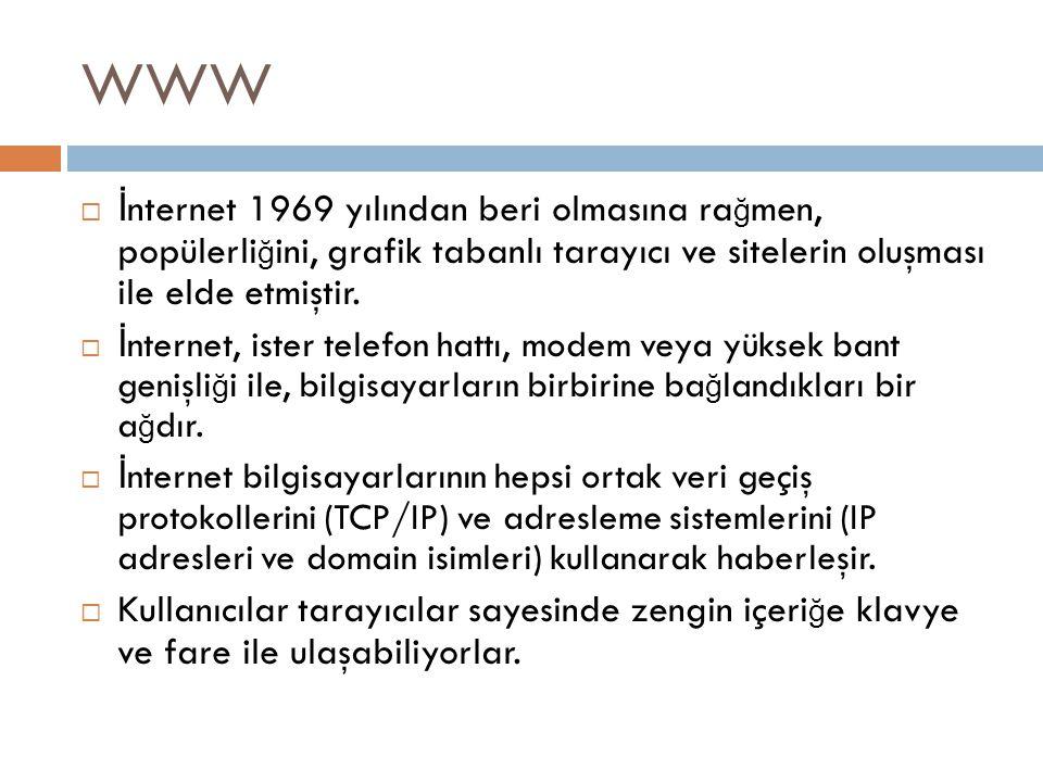 WWW  İ nternet 1969 yılından beri olmasına ra ğ men, popülerli ğ ini, grafik tabanlı tarayıcı ve sitelerin oluşması ile elde etmiştir.  İ nternet, i