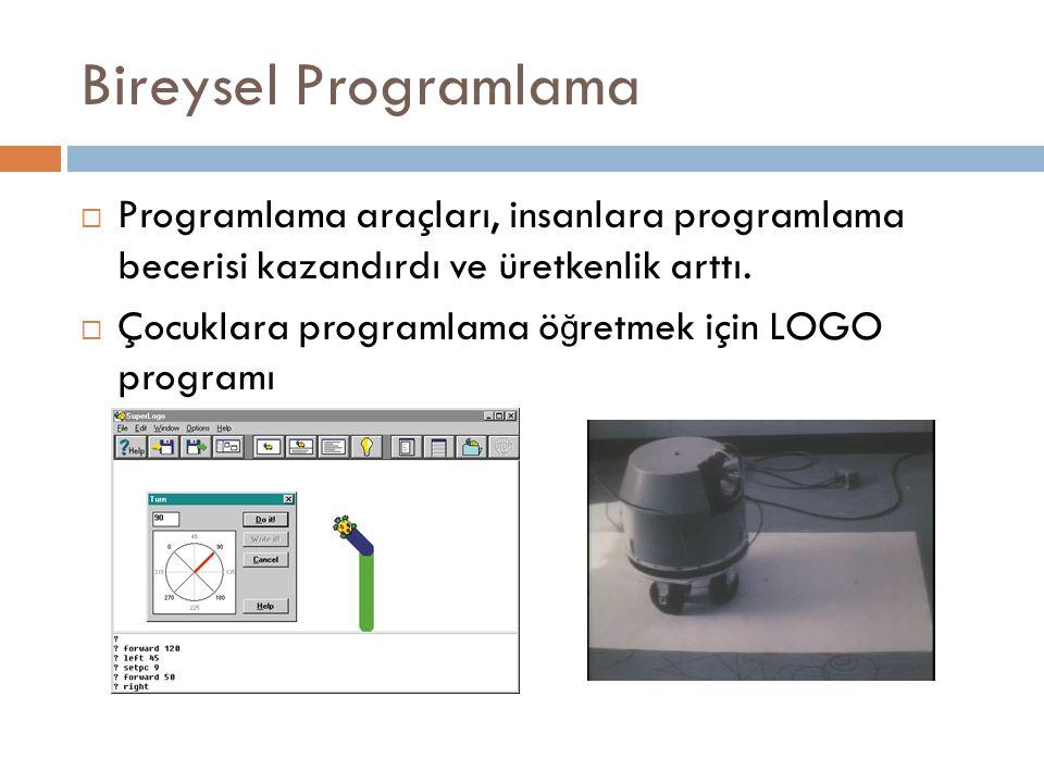 Bireysel Programlama  Programlama araçları, insanlara programlama becerisi kazandırdı ve üretkenlik arttı.  Çocuklara programlama ö ğ retmek için LO