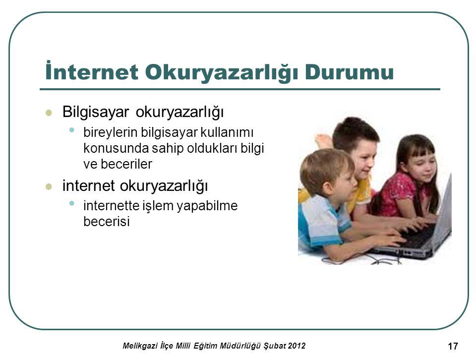 17 İnternet Okuryazarlığı Durumu Bilgisayar okuryazarlığı bireylerin bilgisayar kullanımı konusunda sahip oldukları bilgi ve beceriler internet okurya