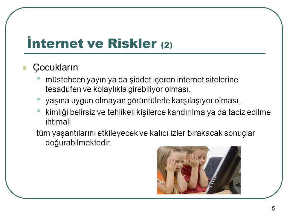 5 İnternet ve Riskler (2) Çocukların müstehcen yayın ya da şiddet içeren internet sitelerine tesadüfen ve kolaylıkla girebiliyor olması, yaşına uygun