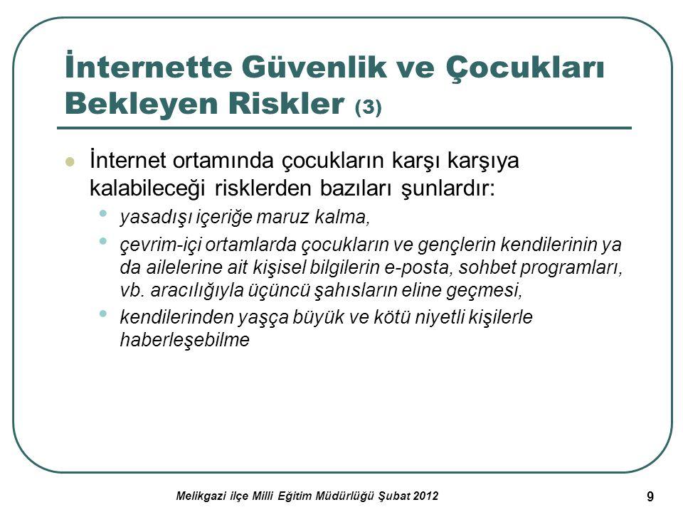 Melikgazi ilçe Milli Eğitim Müdürlüğü Şubat 2012 9 İnternette Güvenlik ve Çocukları Bekleyen Riskler (3) İnternet ortamında çocukların karşı karşıya k