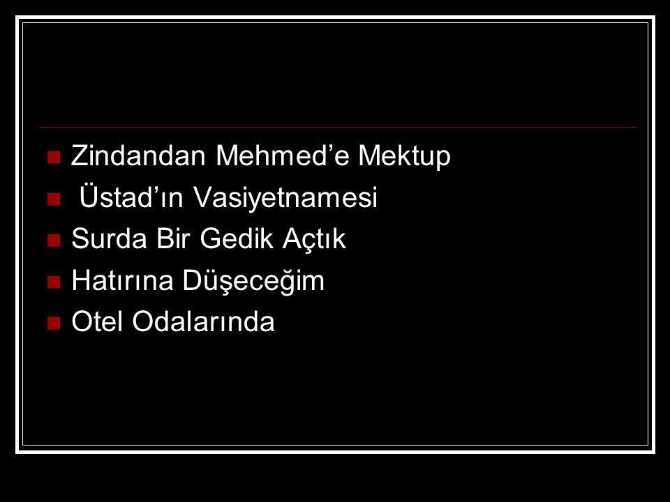 Zindandan Mehmed'e Mektup Üstad'ın Vasiyetnamesi Surda Bir Gedik Açtık Hatırına Düşeceğim Otel Odalarında