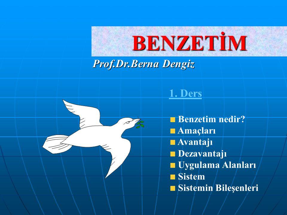 BENZETİM Prof.Dr.Berna Dengiz 1. Ders Benzetim nedir? Amaçları Avantajı Dezavantajı Uygulama Alanları Sistem Sistemin Bileşenleri