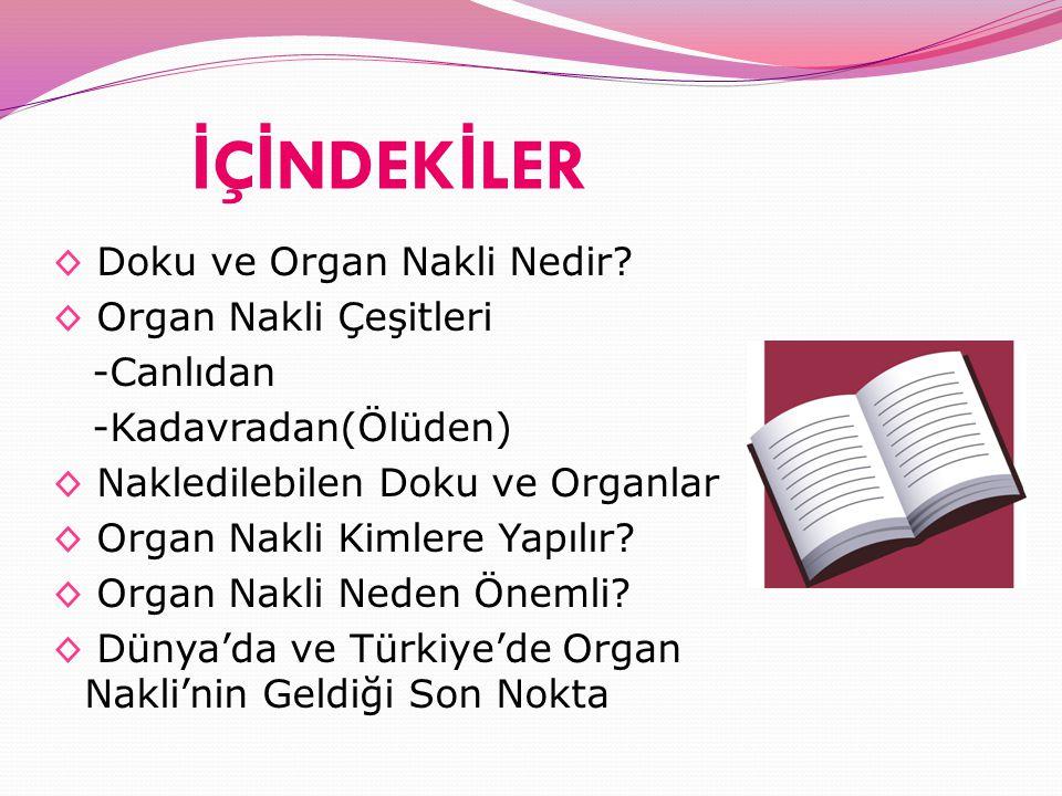 İ Ç İ NDEK İ LER ◊ Doku ve Organ Nakli Nedir? ◊ Organ Nakli Çeşitleri -Canlıdan -Kadavradan(Ölüden) ◊ Nakledilebilen Doku ve Organlar ◊ Organ Nakli Ki