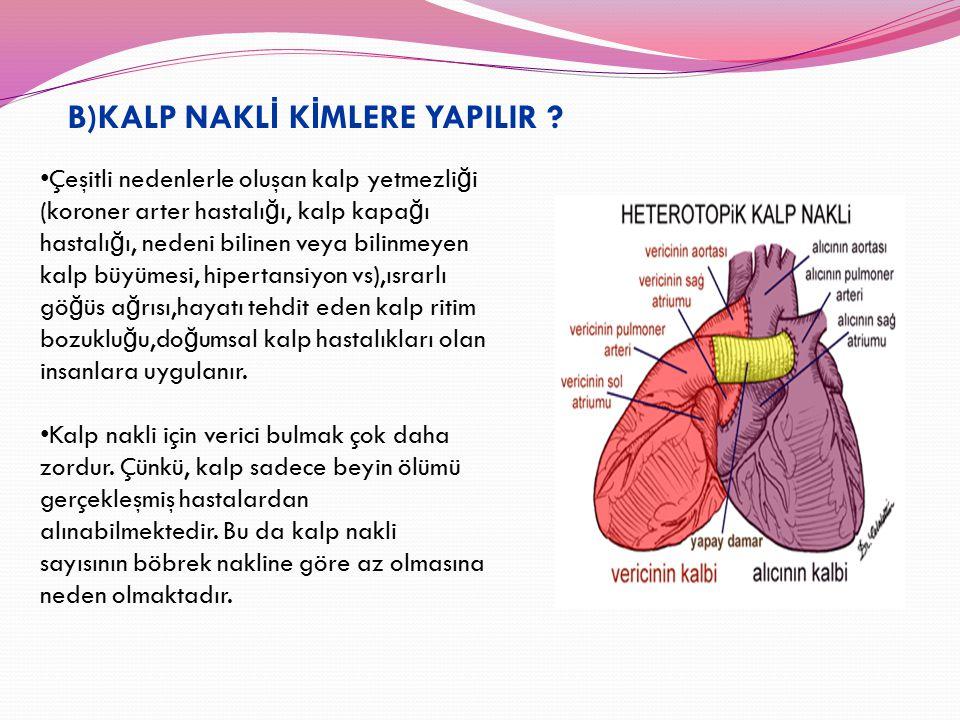 B)KALP NAKL İ K İ MLERE YAPILIR ? Çeşitli nedenlerle oluşan kalp yetmezli ğ i (koroner arter hastalı ğ ı, kalp kapa ğ ı hastalı ğ ı, nedeni bilinen ve