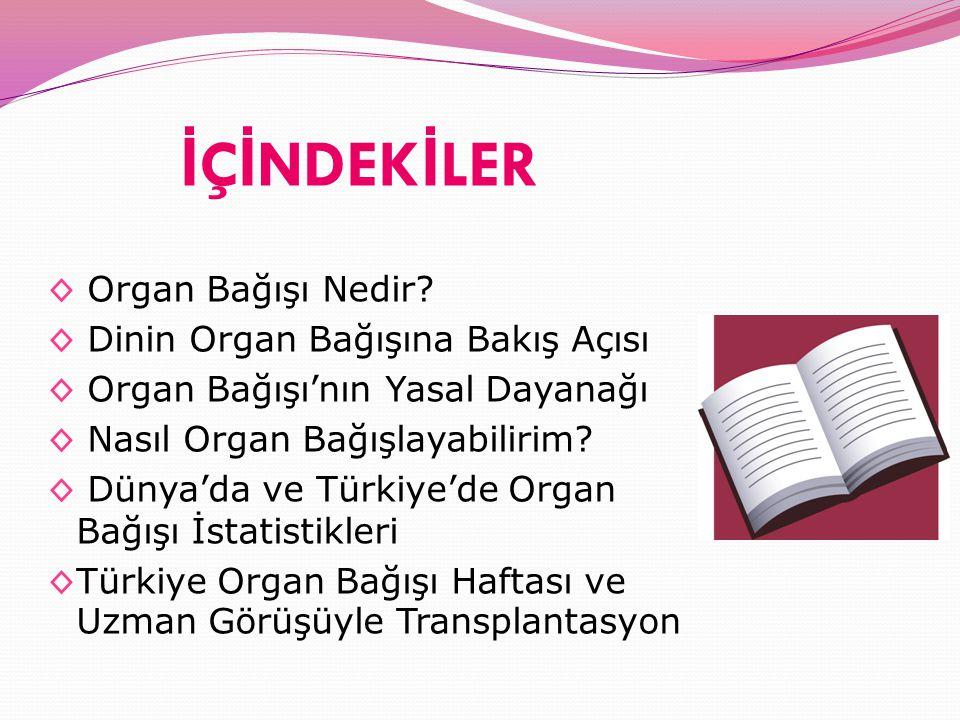 İ Ç İ NDEK İ LER ◊ Organ Bağışı Nedir? ◊ Dinin Organ Bağışına Bakış Açısı ◊ Organ Bağışı'nın Yasal Dayanağı ◊ Nasıl Organ Bağışlayabilirim? ◊ Dünya'da