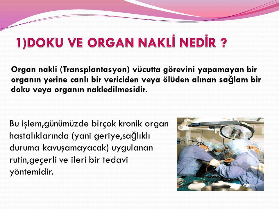 Organ nakli (Transplantasyon) vücutta görevini yapamayan bir organın yerine canlı bir vericiden veya ölüden alınan sa ğ lam bir doku veya organın nakl