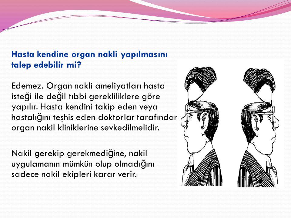 Hasta kendine organ nakli yapılmasını talep edebilir mi? Edemez. Organ nakli ameliyatları hasta iste ğ i ile de ğ il tıbbi gerekliliklere göre yapılır