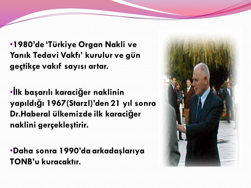 1980'de 'Türkiye Organ Nakli ve Yanık Tedavi Vakfı' kurulur ve gün geçtikçe vakıf sayısı artar. İ lk başarılı karaci ğ er naklinin yapıldı ğ ı 1967(St
