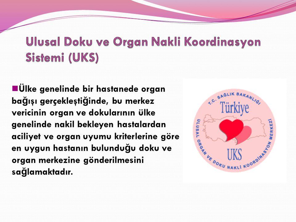 Ülke genelinde bir hastanede organ ba ğ ışı gerçekleşti ğ inde, bu merkez vericinin organ ve dokularının ülke genelinde nakil bekleyen hastalardan aci