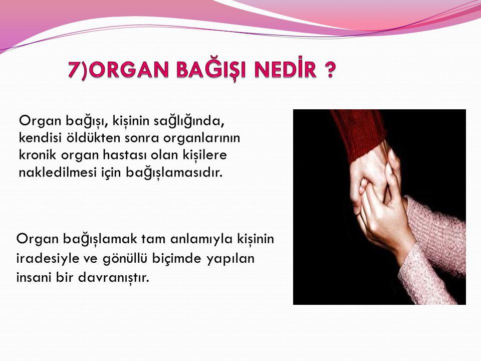 Organ ba ğ ışı, kişinin sa ğ lı ğ ında, kendisi öldükten sonra organlarının kronik organ hastası olan kişilere nakledilmesi için ba ğ ışlamasıdır. Org