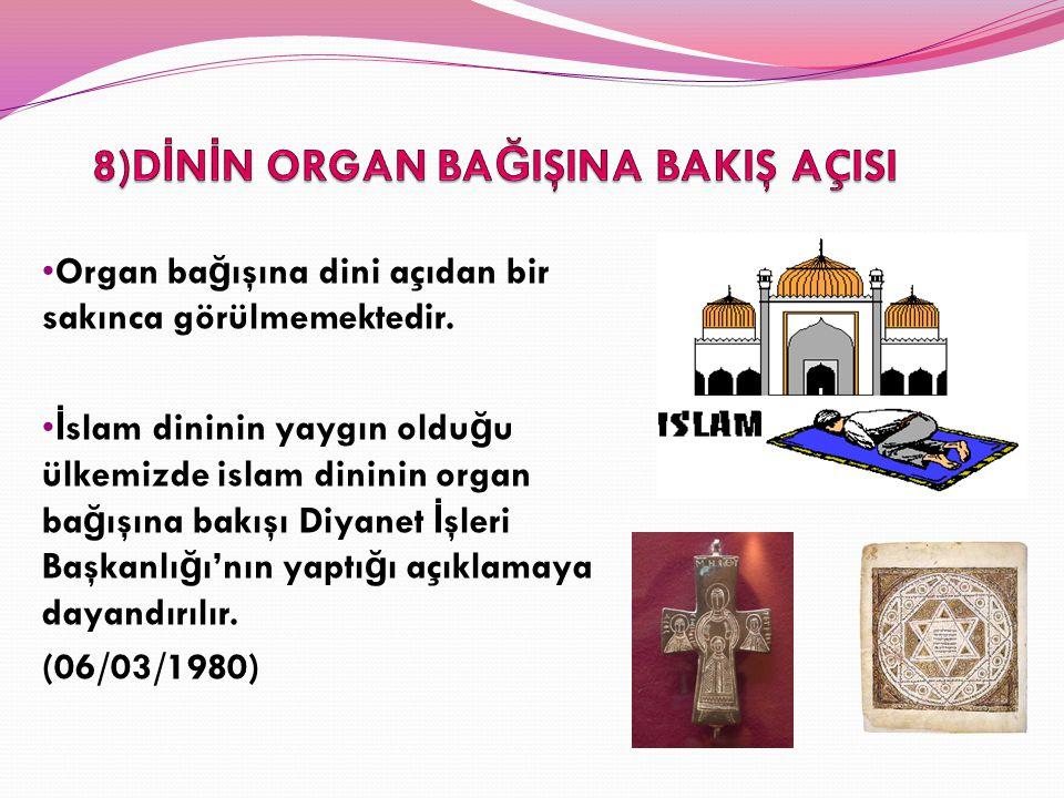 Organ ba ğ ışına dini açıdan bir sakınca görülmemektedir. İ slam dininin yaygın oldu ğ u ülkemizde islam dininin organ ba ğ ışına bakışı Diyanet İ şle