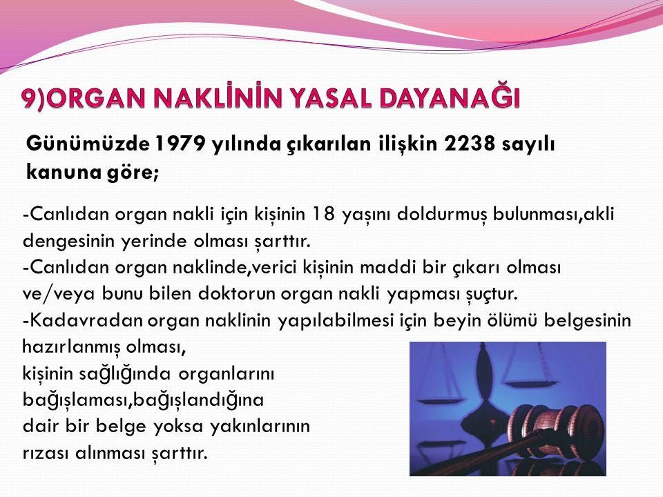 Günümüzde 1979 yılında çıkarılan ilişkin 2238 sayılı kanuna göre; -Canlıdan organ nakli için kişinin 18 yaşını doldurmuş bulunması,akli dengesinin yer