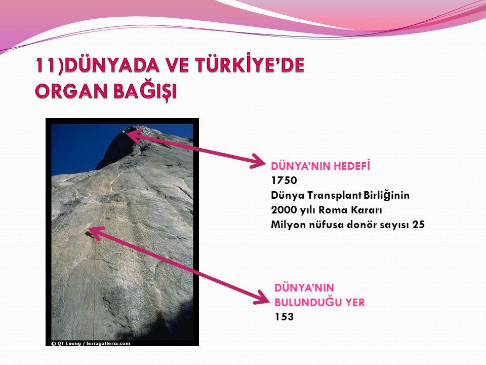 DÜNYA'NIN HEDEF İ 1750 Dünya Transplant Birli ğ inin 2000 yılı Roma Kararı Milyon nüfusa donör sayısı 25 DÜNYA'NIN BULUNDU Ğ U YER 153