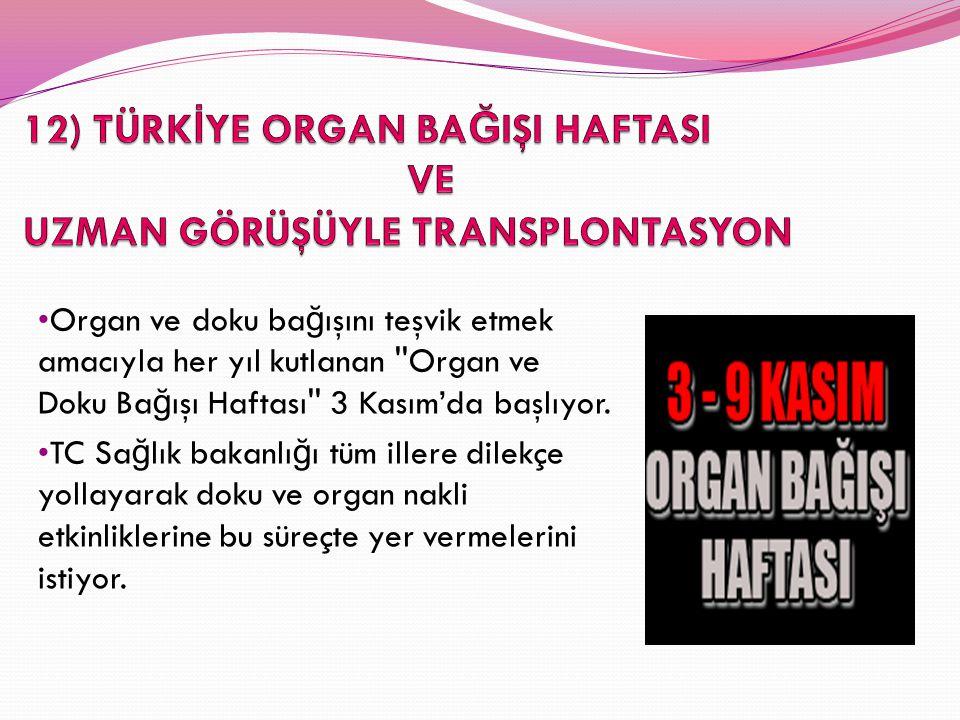 Organ ve doku ba ğ ışını teşvik etmek amacıyla her yıl kutlanan ''Organ ve Doku Ba ğ ışı Haftası'' 3 Kasım'da başlıyor. TC Sa ğ lık bakanlı ğ ı tüm il