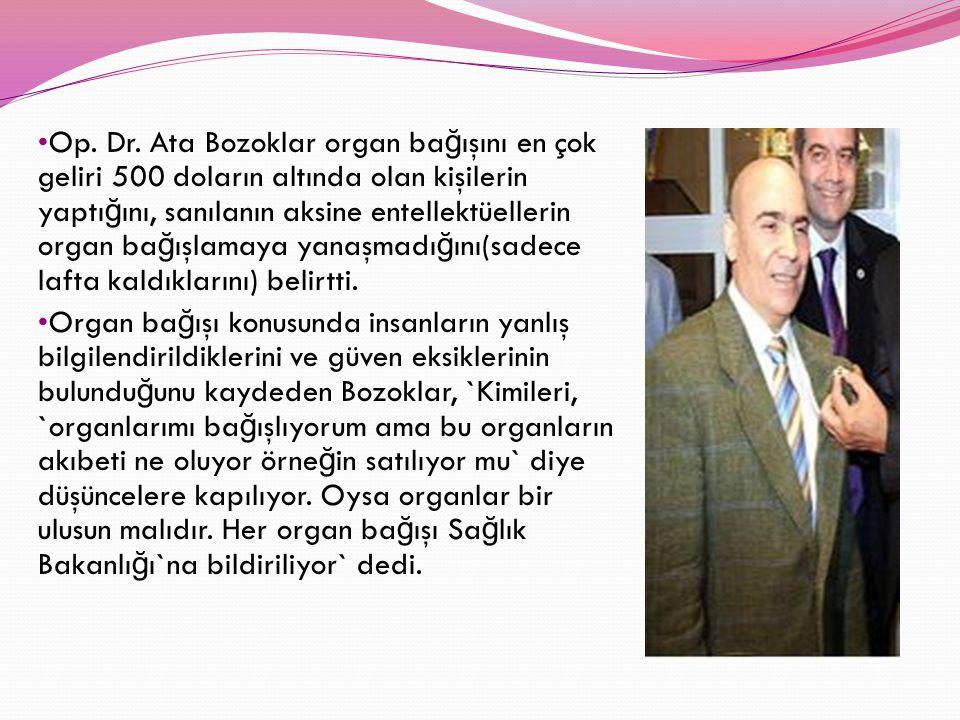 Op. Dr. Ata Bozoklar organ ba ğ ışını en çok geliri 500 doların altında olan kişilerin yaptı ğ ını, sanılanın aksine entellektüellerin organ ba ğ ışla