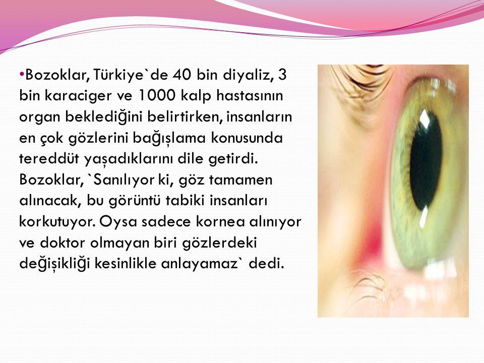 Bozoklar, Türkiye`de 40 bin diyaliz, 3 bin karaciger ve 1000 kalp hastasının organ bekledi ğ ini belirtirken, insanların en çok gözlerini ba ğ ışlama