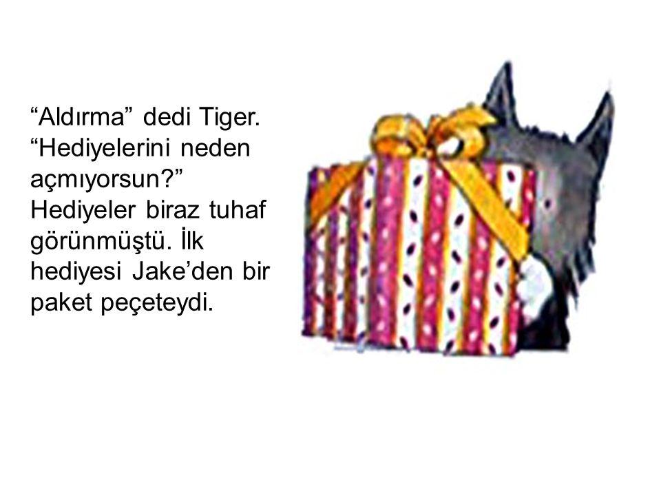 """""""Aldırma"""" dedi Tiger. """"Hediyelerini neden açmıyorsun?"""" Hediyeler biraz tuhaf görünmüştü. İlk hediyesi Jake'den bir paket peçeteydi."""