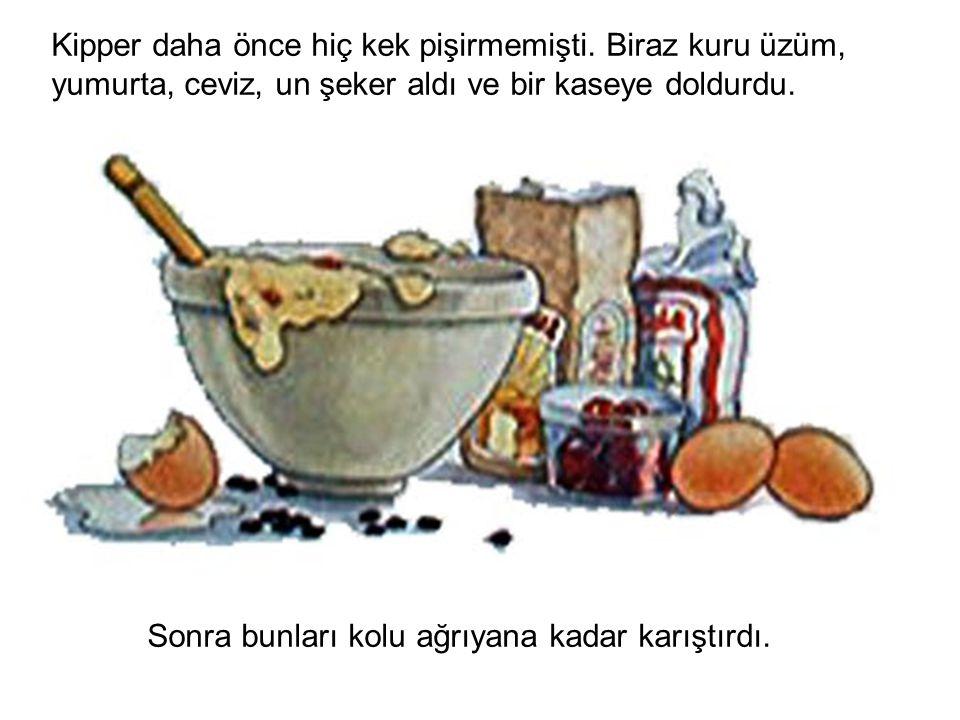 Kipper daha önce hiç kek pişirmemişti. Biraz kuru üzüm, yumurta, ceviz, un şeker aldı ve bir kaseye doldurdu. Sonra bunları kolu ağrıyana kadar karışt