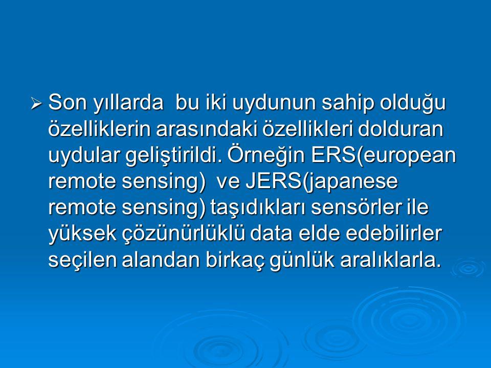 Özellikle hidroloji için çalışan uydular olmamasına rağmen bu alanda kullanılan uydular: Özellikle hidroloji için çalışan uydular olmamasına rağmen bu alanda kullanılan uydular:  Environmental satellites:NOAA(national oceanic and atmosphere administration),Military DMSP(defence meteorological satellite program) ve yüksek yörünge uyduları olan GOES-East ve GOES-West(amerika), METEOSAT, FY(çin), GMS(japon), INSAT(hindistan) ve GOMS düzensiz olarak yaklaşık ekvator etrafında dolaşırlar.