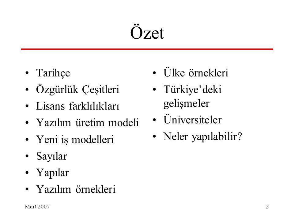 Mart 2007 2 Özet Tarihçe Özgürlük Çeşitleri Lisans farklılıkları Yazılım üretim modeli Yeni iş modelleri Sayılar Yapılar Yazılım örnekleri Ülke örnekleri Türkiye'deki gelişmeler Üniversiteler Neler yapılabilir