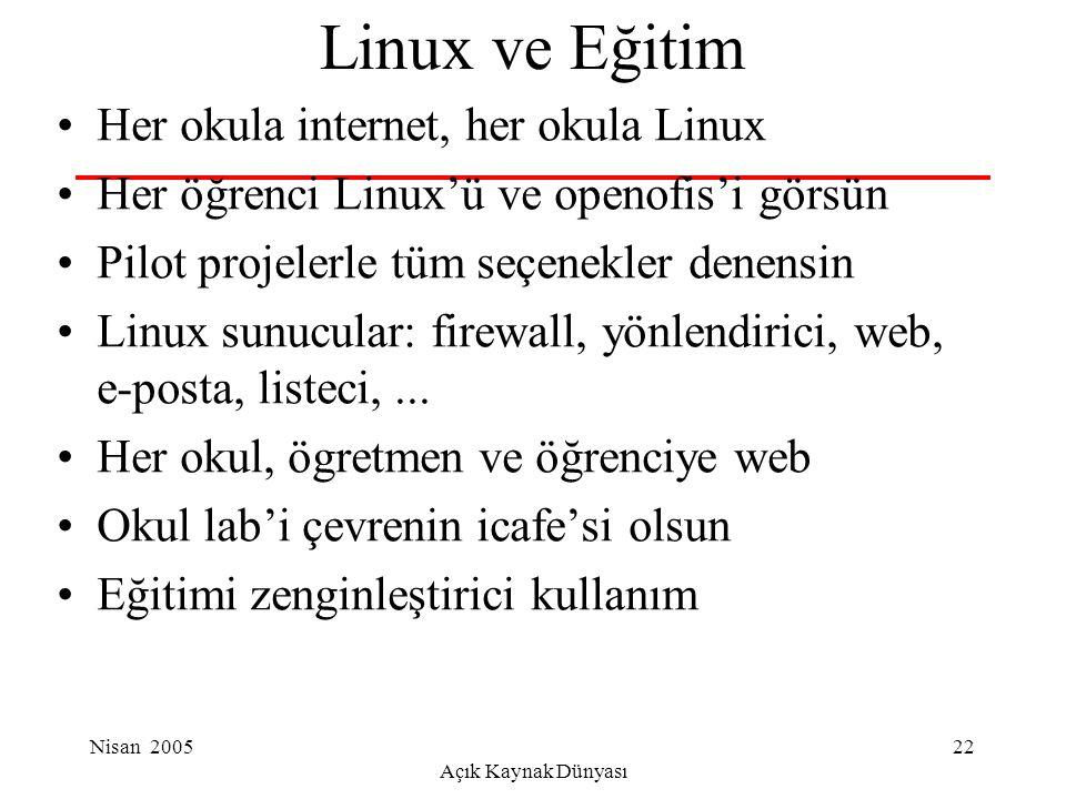 Nisan 2005 Açık Kaynak Dünyası 22 Linux ve Eğitim Her okula internet, her okula Linux Her öğrenci Linux'ü ve openofis'i görsün Pilot projelerle tüm seçenekler denensin Linux sunucular: firewall, yönlendirici, web, e-posta, listeci,...
