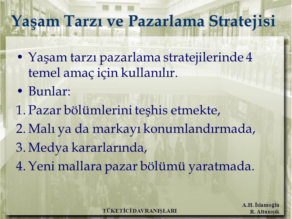 A.H. İslamoğlu R. Altunışık TÜKETİCİ DAVRANIŞLARI Yaşam Tarzı ve Pazarlama Stratejisi Yaşam tarzı pazarlama stratejilerinde 4 temel amaç için kullanıl