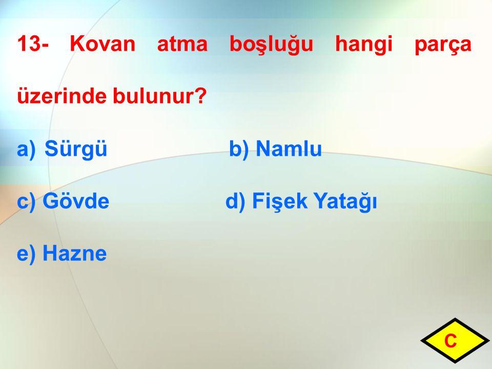 13- Kovan atma boşluğu hangi parça üzerinde bulunur.