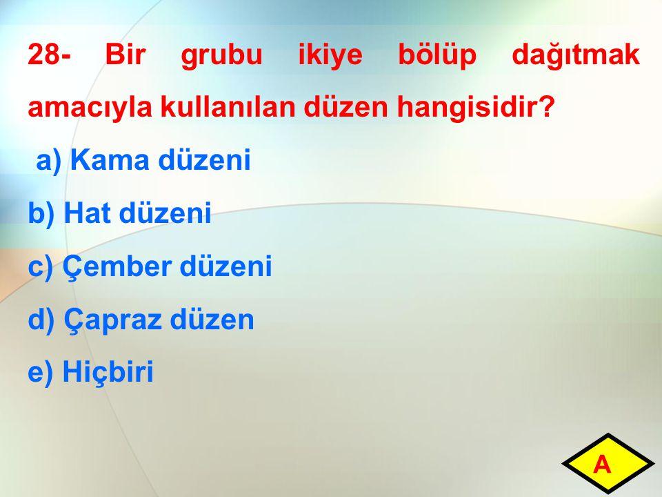 28- Bir grubu ikiye bölüp dağıtmak amacıyla kullanılan düzen hangisidir.