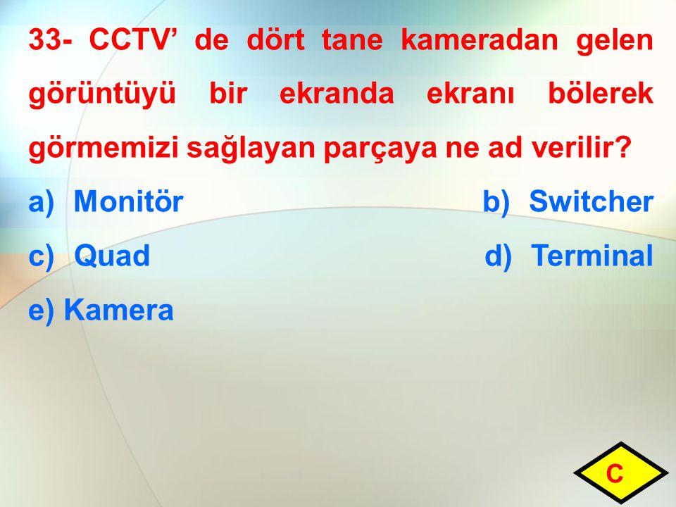 33- CCTV' de dört tane kameradan gelen görüntüyü bir ekranda ekranı bölerek görmemizi sağlayan parçaya ne ad verilir.