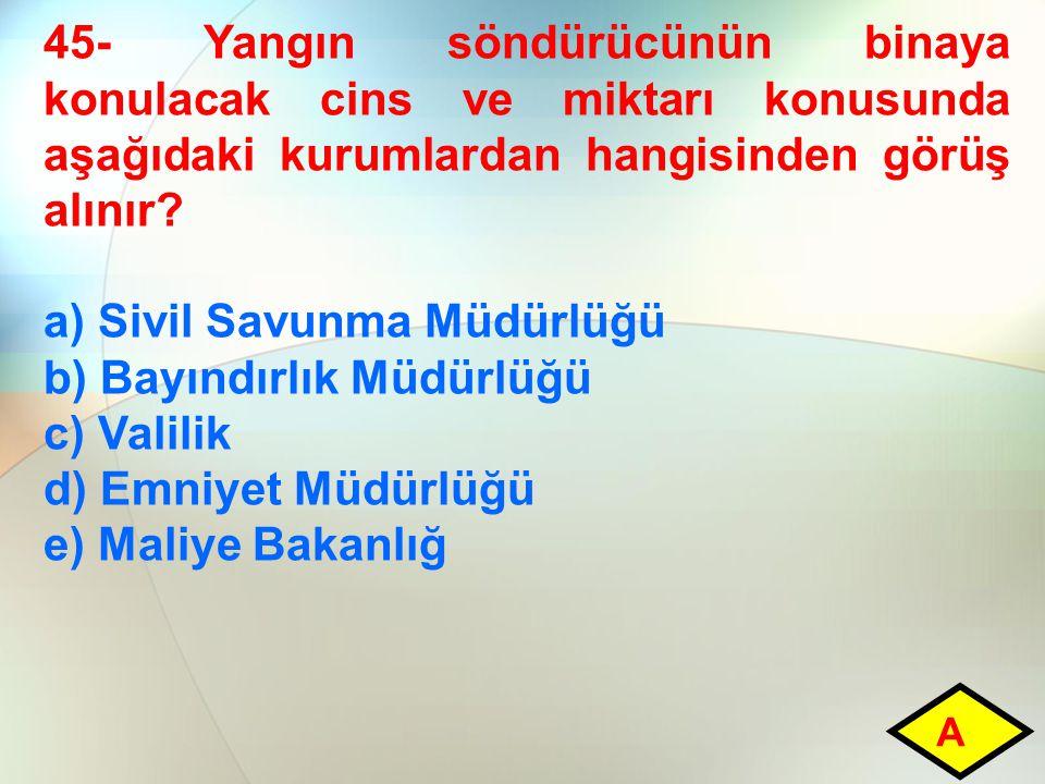 45- Yangın söndürücünün binaya konulacak cins ve miktarı konusunda aşağıdaki kurumlardan hangisinden görüş alınır.