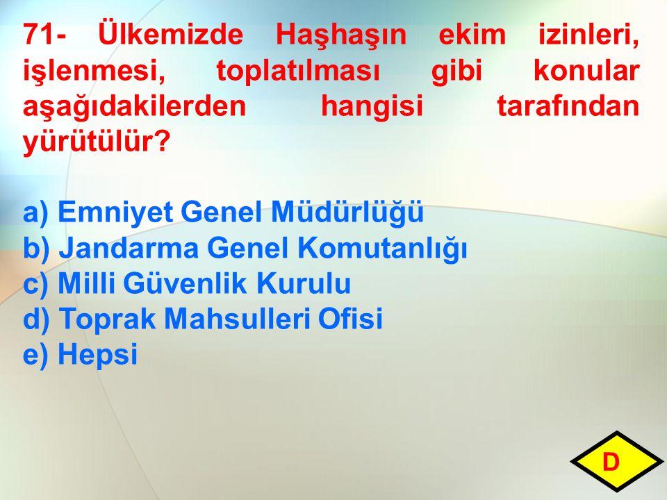 71- Ülkemizde Haşhaşın ekim izinleri, işlenmesi, toplatılması gibi konular aşağıdakilerden hangisi tarafından yürütülür.