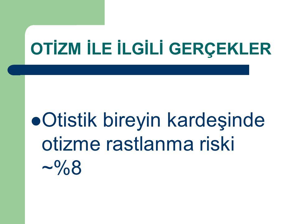 OTİZM İLE İLGİLİ GERÇEKLER Otistik bireyin kardeşinde otizme rastlanma riski ~%8