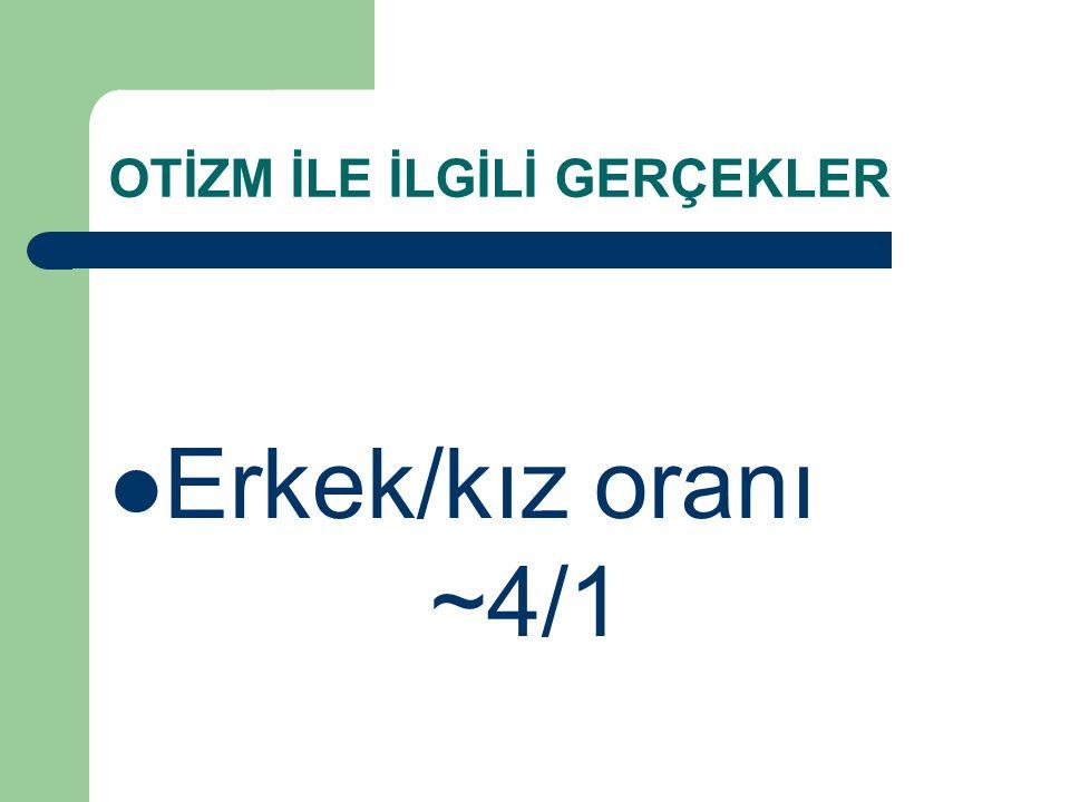 OTİZM İLE İLGİLİ GERÇEKLER Erkek/kız oranı ~4/1