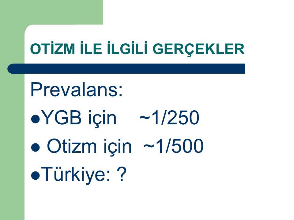OTİZM İLE İLGİLİ GERÇEKLER Prevalans: YGB için ~1/250 Otizm için ~1/500 Türkiye: ?