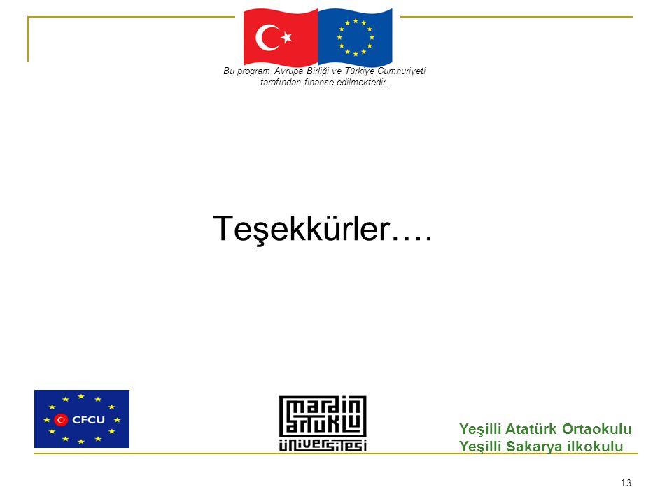 13 Teşekkürler…. Bu program Avrupa Birliği ve Türkiye Cumhuriyeti tarafından finanse edilmektedir.