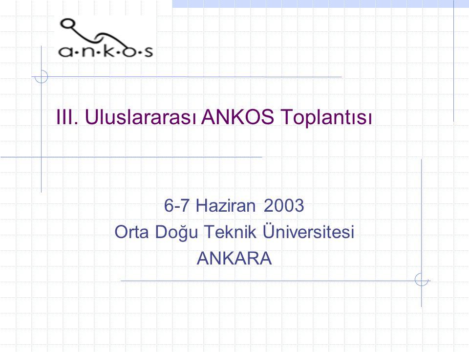 III. Uluslararası ANKOS Toplantısı 6-7 Haziran 2003 Orta Doğu Teknik Üniversitesi ANKARA