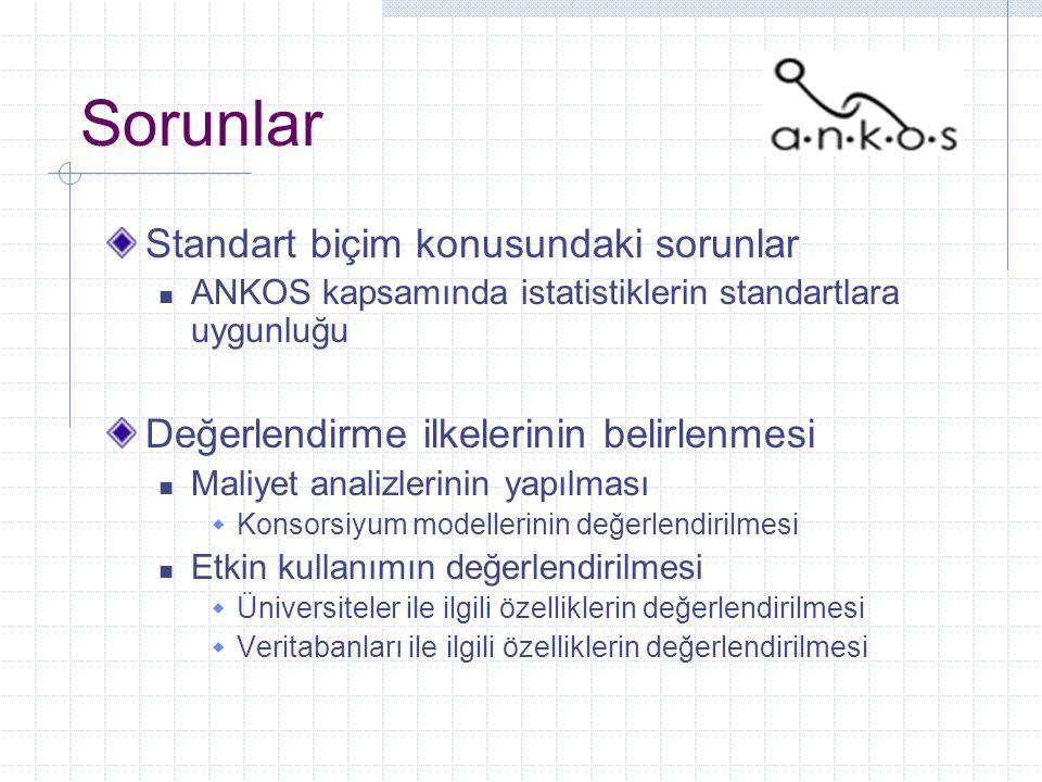 Sorunlar Standart biçim konusundaki sorunlar ANKOS kapsamında istatistiklerin standartlara uygunluğu Değerlendirme ilkelerinin belirlenmesi Maliyet analizlerinin yapılması  Konsorsiyum modellerinin değerlendirilmesi Etkin kullanımın değerlendirilmesi  Üniversiteler ile ilgili özelliklerin değerlendirilmesi  Veritabanları ile ilgili özelliklerin değerlendirilmesi