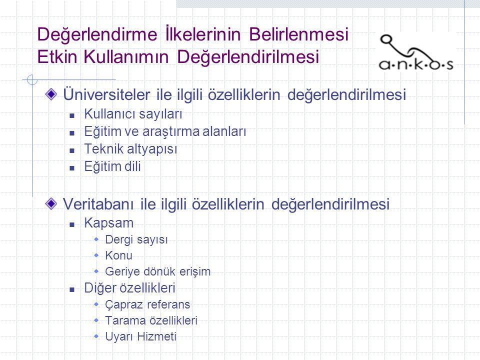 Değerlendirme İlkelerinin Belirlenmesi Etkin Kullanımın Değerlendirilmesi Üniversiteler ile ilgili özelliklerin değerlendirilmesi Kullanıcı sayıları Eğitim ve araştırma alanları Teknik altyapısı Eğitim dili Veritabanı ile ilgili özelliklerin değerlendirilmesi Kapsam  Dergi sayısı  Konu  Geriye dönük erişim Diğer özellikleri  Çapraz referans  Tarama özellikleri  Uyarı Hizmeti
