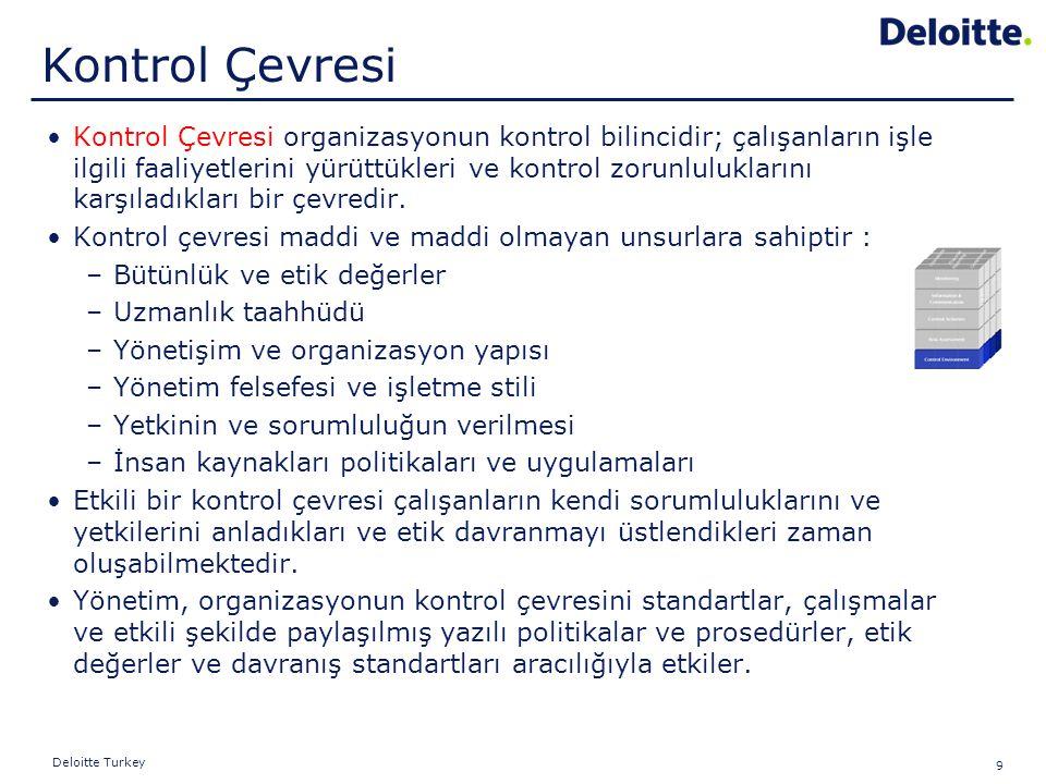 9 Deloitte Turkey Kontrol Çevresi organizasyonun kontrol bilincidir; çalışanların işle ilgili faaliyetlerini yürüttükleri ve kontrol zorunluluklarını