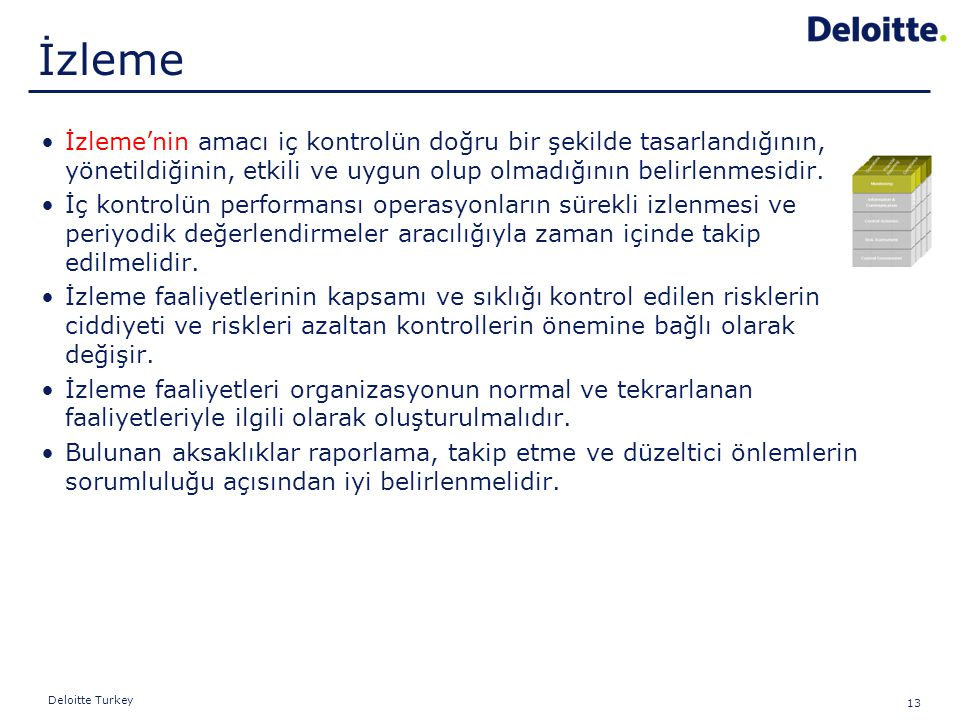13 Deloitte Turkey İzleme'nin amacı iç kontrolün doğru bir şekilde tasarlandığının, yönetildiğinin, etkili ve uygun olup olmadığının belirlenmesidir.