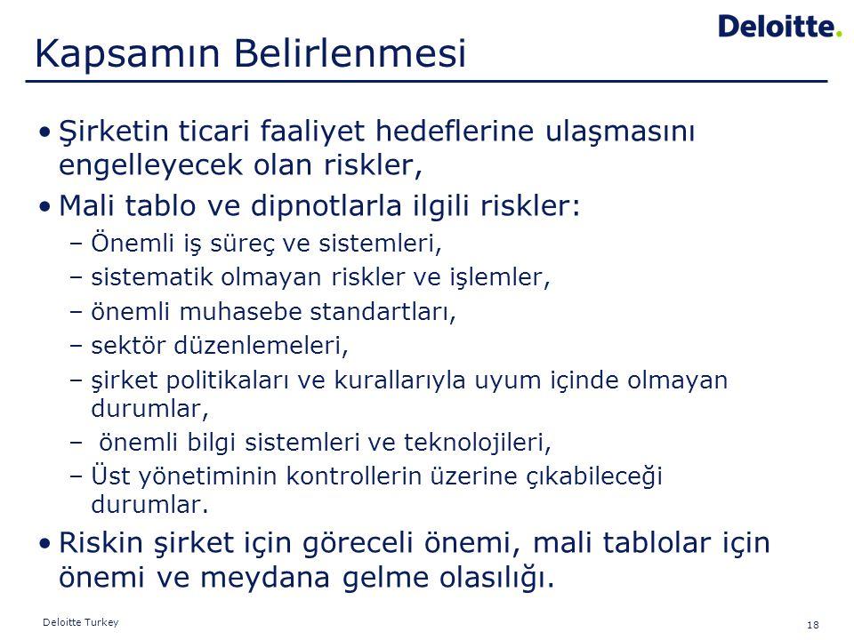 18 Deloitte Turkey Şirketin ticari faaliyet hedeflerine ulaşmasını engelleyecek olan riskler, Mali tablo ve dipnotlarla ilgili riskler: –Önemli iş sür