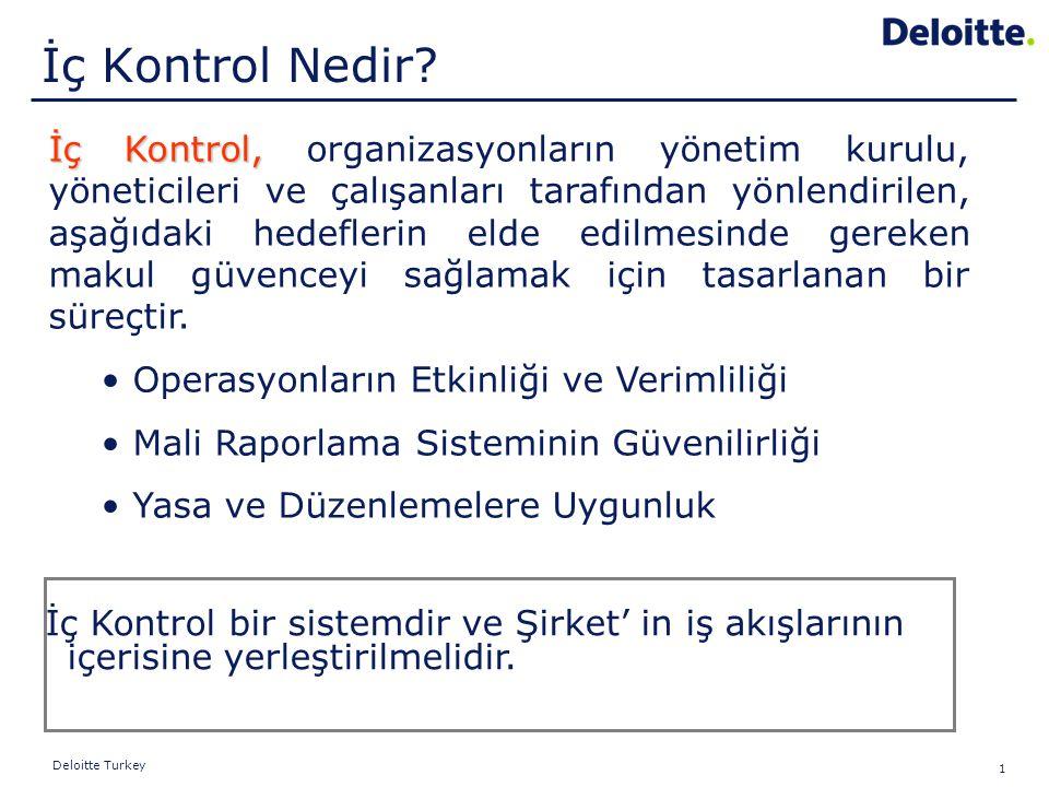 1 Deloitte Turkey İç Kontrol, İç Kontrol, organizasyonların yönetim kurulu, yöneticileri ve çalışanları tarafından yönlendirilen, aşağıdaki hedeflerin