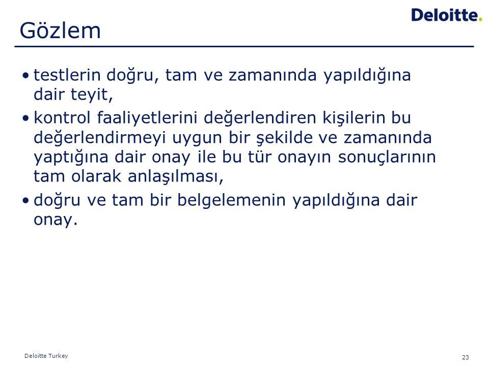 23 Deloitte Turkey testlerin doğru, tam ve zamanında yapıldığına dair teyit, kontrol faaliyetlerini değerlendiren kişilerin bu değerlendirmeyi uygun b