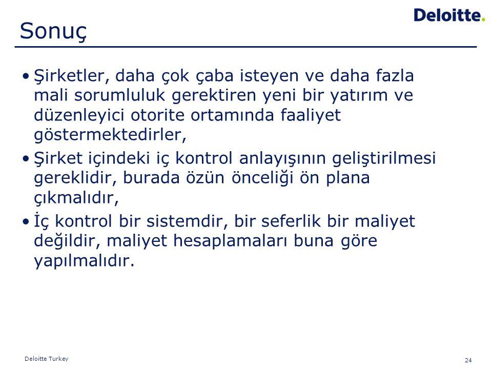24 Deloitte Turkey Şirketler, daha çok çaba isteyen ve daha fazla mali sorumluluk gerektiren yeni bir yatırım ve düzenleyici otorite ortamında faaliye