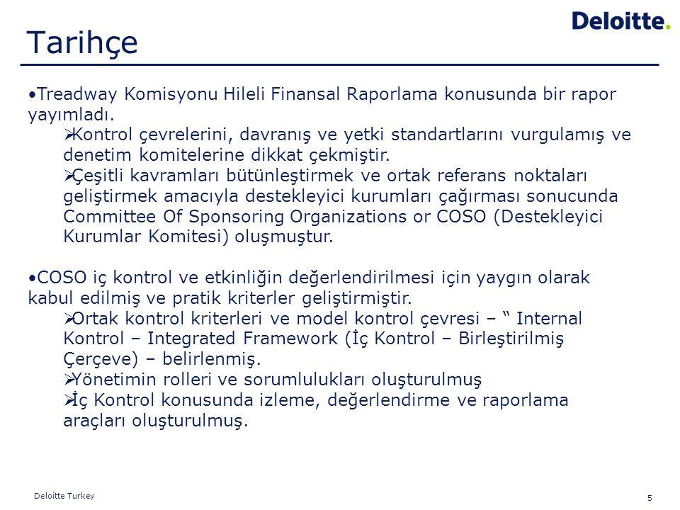 5 Deloitte Turkey Treadway Komisyonu Hileli Finansal Raporlama konusunda bir rapor yayımladı.  Kontrol çevrelerini, davranış ve yetki standartlarını