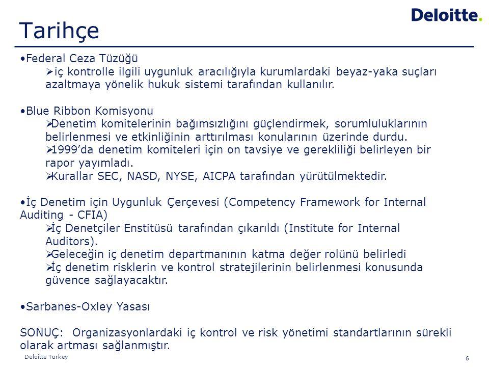 6 Deloitte Turkey Federal Ceza Tüzüğü  iç kontrolle ilgili uygunluk aracılığıyla kurumlardaki beyaz-yaka suçları azaltmaya yönelik hukuk sistemi tara